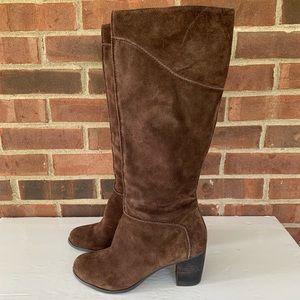 Franco Sarto brown suede heeled boots